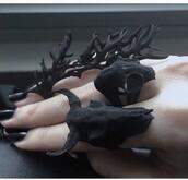 jewels,ring,black,skull,goth,creepy,jewelry,goth hipster,gothic grunge