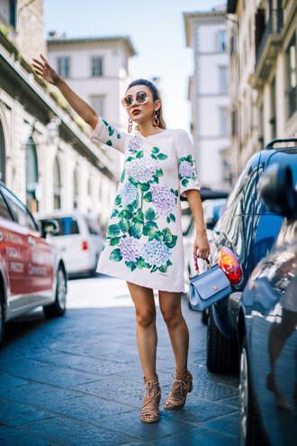 dress tumblr mini dress dolce and gabbana floral floral dress sandals mid heel sandals sunglasses round sunglasses bag earrings shoes