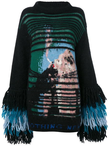 jumper women mohair black wool sweater