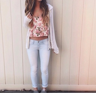 shirt cardigan jeans shoes cropped jeans tank top floral jacket floral crop top blouse flowers crop tops skirt pink cute spring floral tank top top flower top floral top