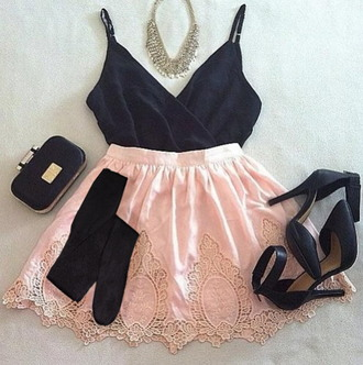 high heels top skirt pantyhose tights