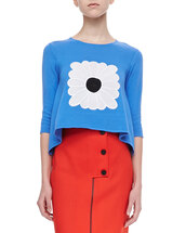 shirt,knit handkerchief top with daisy,peony blue,blue,skirt,opening ceremony,tiger red,Lee Snap-Front Pencil Skirt,pencil skirt