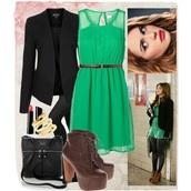 lydia martin,love,green dress,black blazer,dress,holland roden,beautiful,leggings,grey