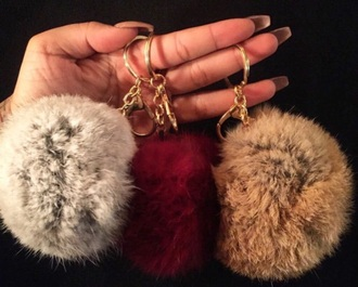 jewels jewelry bag charm bag bug fur faux fur keychain fur keychain