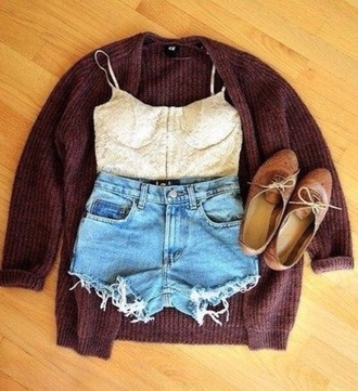 cardigan shorts top shoes casual