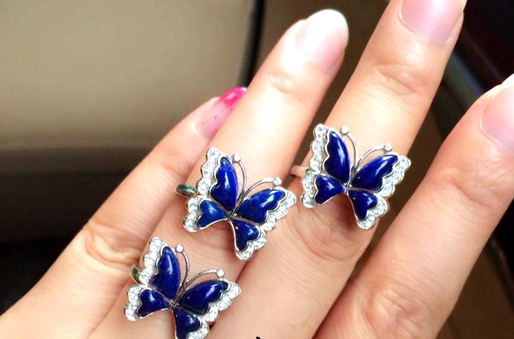Lapis lazuli 925 sterling silver butterfly ring - Wishbop.com