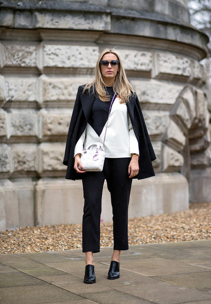 camila carril blogger colorblock black and white black pants black coat boyish pants shoes top coat bag