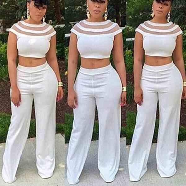 White two piece pants set women