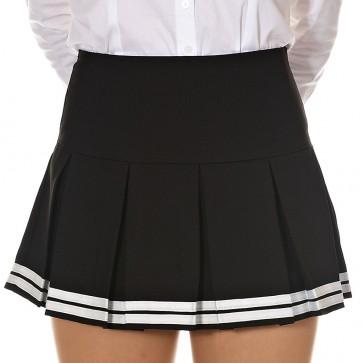 Striped Hem Pleated Mini Skirt - Korean Fashion Online - Dani's Choice