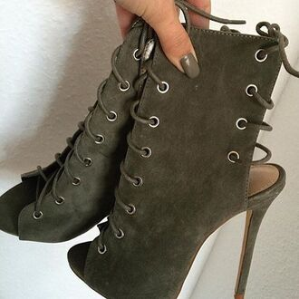 shoes heels miliary green boots pumps flatforms platform shoes fashion style olive green tie up suede army green