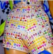 pants,emoji print,high pants,High waisted shorts,hips,tumblr
