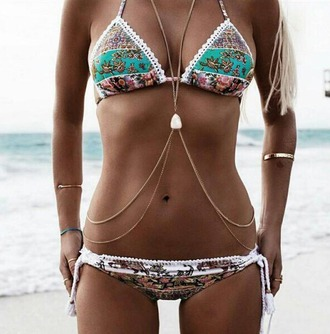 swimwear swimwear two piece floral swimwear patterned swimwear bikini bikini top bikini bottoms sexy bikini summer summer top summer holidays summer outfits sexy print gold body chain body chain boho jewelry boho boho swimwear floral bikini