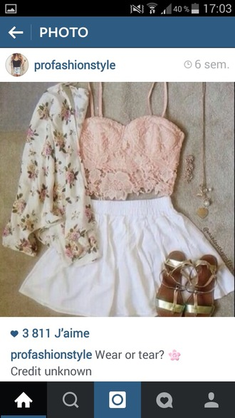 tank top crop tops lace floral pink spring flowers nail accessories cardigan bag shorts