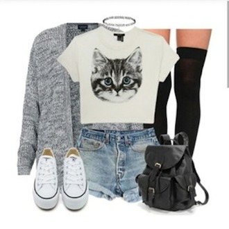 shoes sweater grey sweater converse shorts top cropped cat top socks bookbag denim necklace style ootd fall outfits fall sweater cats graphic tee crop tops knee high socks high socks knee highs sweater weather