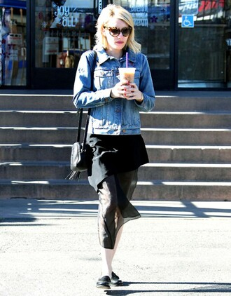 skirt asymmetrical asymmetrical skirt fall outfits denim jacket emma roberts jacket