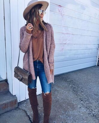 cardigan pink cardigan tumblr top rust denim jeans blue jeans boots brown boots over the knee boots bag brown bag gucci gucci bag dionysus hat sunglasses mirrored sunglasses fall outfits