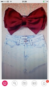 top,red,crop tops,bow bandeau,bows,burgundy,shorts
