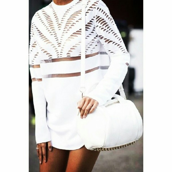 dress blouse white white dress bag one shirt all white everything cut-out do sombody know where i can get this? i really really want it! sweater long sleeves cut-out t-shirt oversized mesh sweatshirt t-shirt dress all white everything all white everything streetstyle top crop tops streetstyle studs cute sexy sexy dress clothes white mesh dress see though see through girly