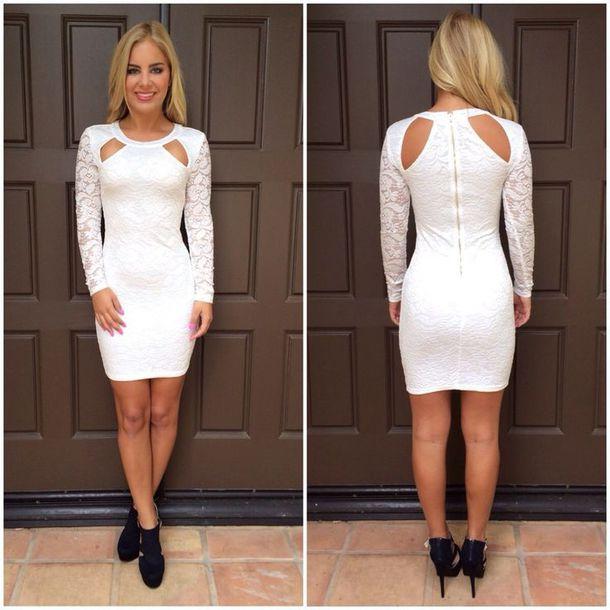 Tight long sleeve white dress