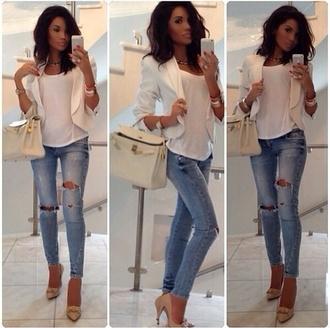 bag white beautiful jeans jacket blazer ripped denim hermes ripped jeans coat white blazer clothes blouse