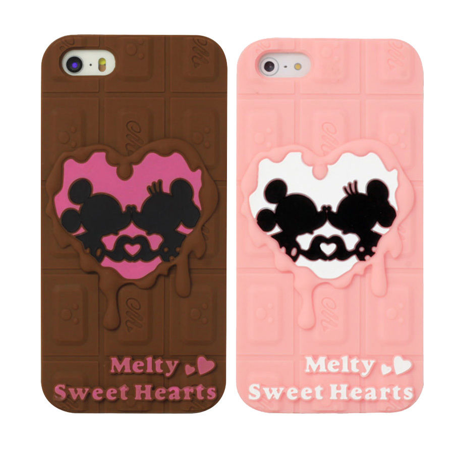 san francisco a989e eb08b For iPhone 5 5S 5C Couple Lover Disney Mickey Chocolate Soft Silicone Case  Cover