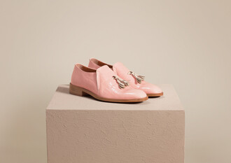 shoes pink shoes flats loafers salmon light pink finery london