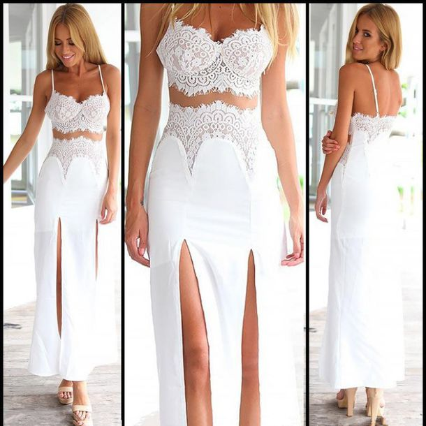 Dress: sexy women lace splicing slit maxi dress, sexy, gorgeous ...