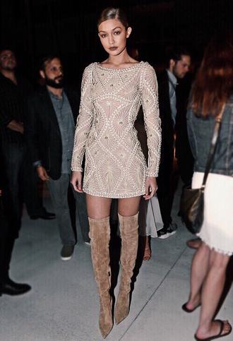 shoes white embelished dress beige knee high boots blogger