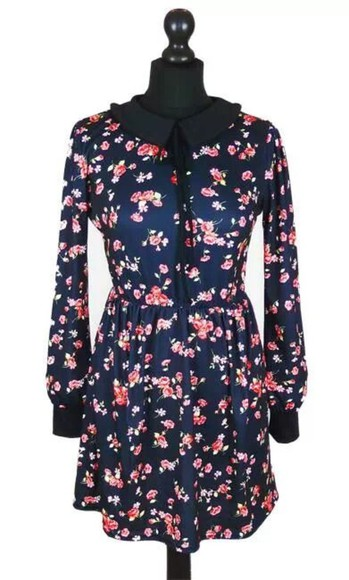 dress floral dress navy dress floral ditsy floral peter pan collar