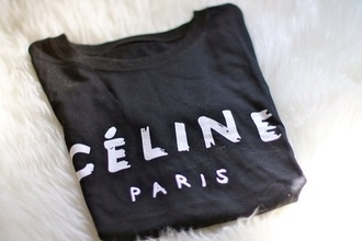 cotton t-shirt grey black white paris fashion outfit style celine paris shirt celebrity celine