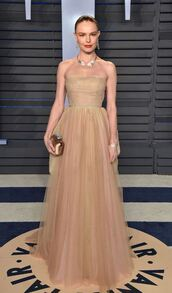 bag,tulle dress,nude,nude dress,gown,prom dress,clutch,kate bosworth,oscars 2018,strapless