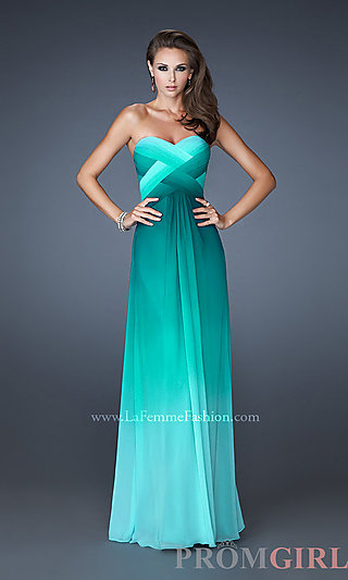 Open Back Prom Dresses, La Femme Strapless Prom Gowns- PromGirl