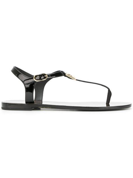 Dolce & Gabbana women sandals leather black shoes