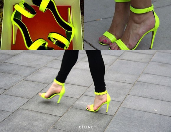 shoes high heels neon neon yellow heels yellow black, white, yellow, daisy, strapless, top, high waisted, shorts, studs, dark wash high heels, high, heels, shoes, yellow, black strap top