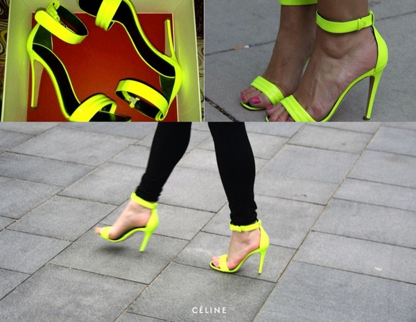shoes neon yellow high heels black neon yellow heels strap top daisy strapless top high waisted studs dark wash high heels