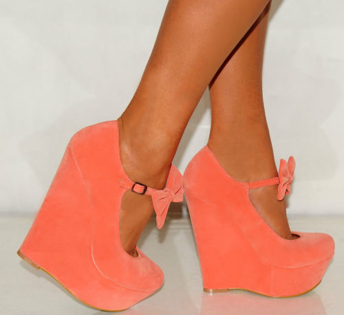 LADIES WOMENS SUEDE BOW CORAL PINK SUMMER PLATFORM WEDGES HIGH HEELS SHOES 3-8 | Amazing Shoes UK