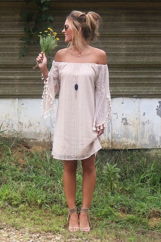 dress boho dress off the shoulder tan cold shoulder long sleeve lace dress lace dress long sleeve dress nude dress off the shoulder dress sandals sandal heels nude sandals summer dress summer outfits