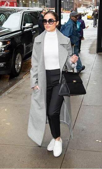 top turtleneck white white top pants sneakers coat olivia culpo bodysuit grey coat shoes