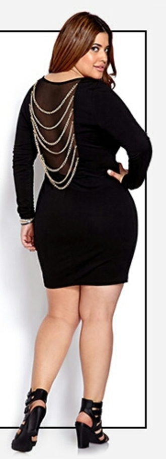 dress plus size plus size dress chain dress black dress bodycon dress