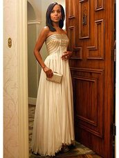 dress,olivia pope,scandal,prom dress,cream dress,gown,kerry washington,evening dress,clutch,nude dress,strapless dress,maxi dress,black girls killin it