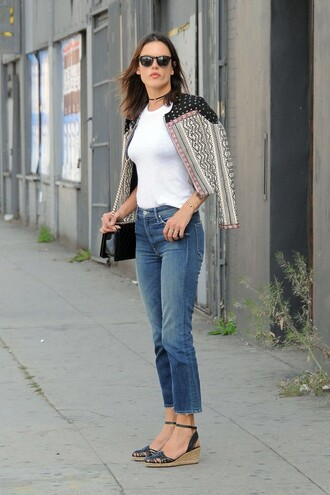 jacket spring spring outfits spring jacket alessandra ambrosio espadrilles jeans sunglasses purse top choker necklace