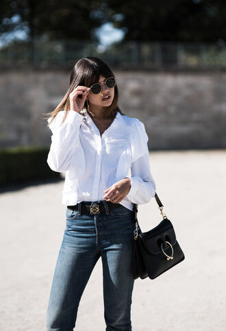 shirt tumblr white shirt ruffle ruffle shirt ruffled top bag j w anderson black bag handbag denim jeans blue jeans sunglasses belt logo belt work outfits office outfits designer bag casual