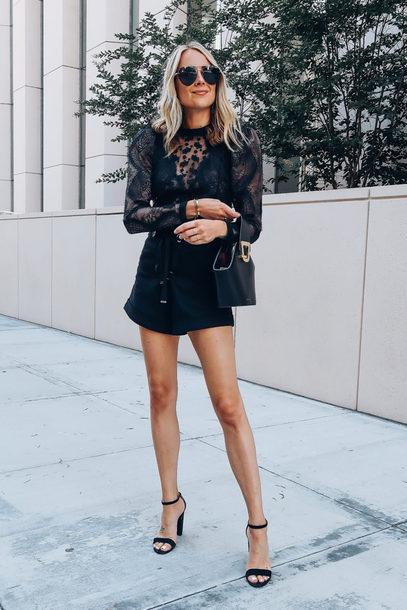 top scalloped lace top short shorts sandal heels bag