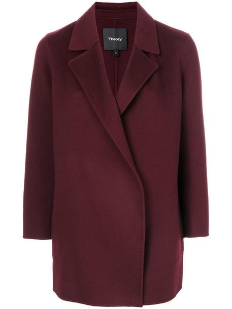 theory coat women wool red