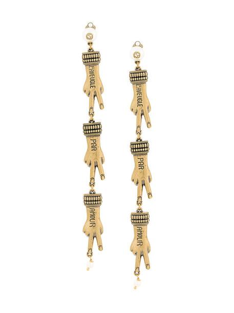 gucci women earrings pendant grey metallic jewels