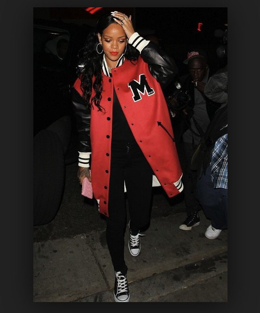 rihanna red jacket baseball jacket