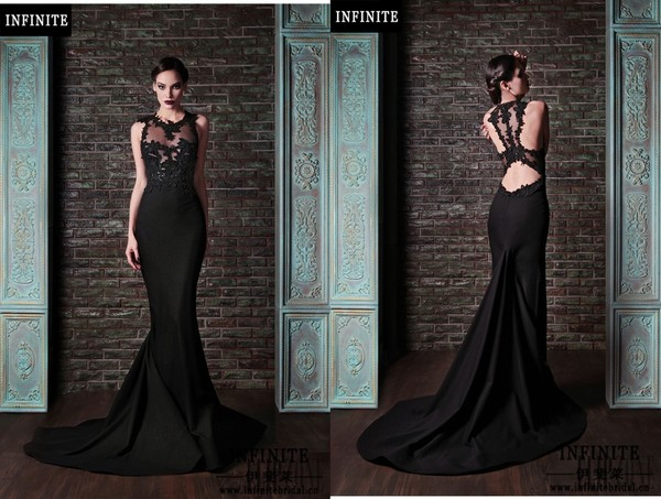 dress black dress gown rami kadi prom dress chapel train black lace chiffon dress prom prom gown mermaid prom dress