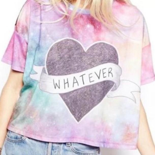 top shirt tumblr shirt t shirt pastel galaxy print tumblr