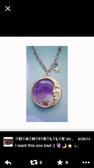jewels moon purple stars necklace silver amethyst pendant pendant moon necklace