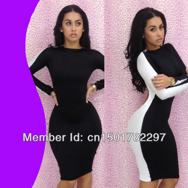 Aliexpress.com : Buy New Fashion 2013 Winter Novelty Bandage Dress Women  Black White Long Sleeve Sexy Bodycon Club Dress Free Shipping from Reliable bandage dress gold suppliers on Sexy Dress Baby